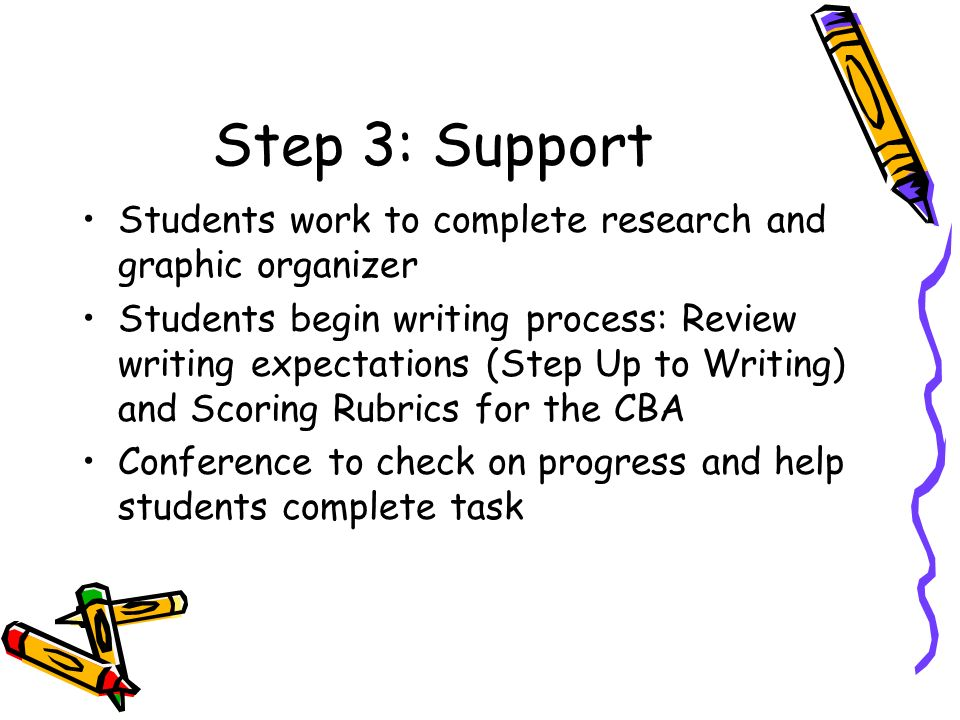 Step 3: Support Students work to complete research and graphic organizer Students begin writing process: Review writing expectations (Step Up to Writing) and Scoring Rubrics for the CBA Conference to check on progress and help students complete task