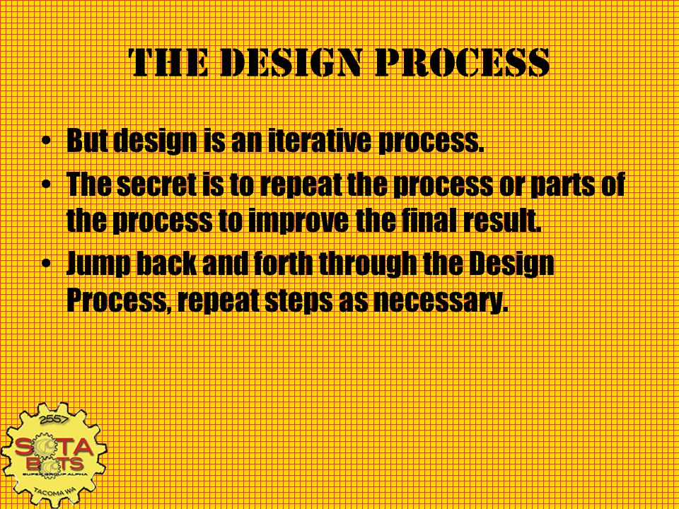 The design process But design is an iterative process. The secret is to repeat the process or parts of the process to improve the final result. Jump b