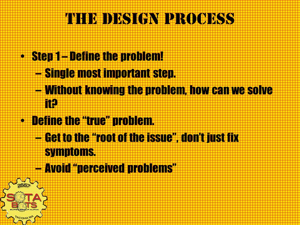 The Design Process Step 2 – Generate Specifications –Specification – An explicit set of requirements to be satisfied by the final solution.