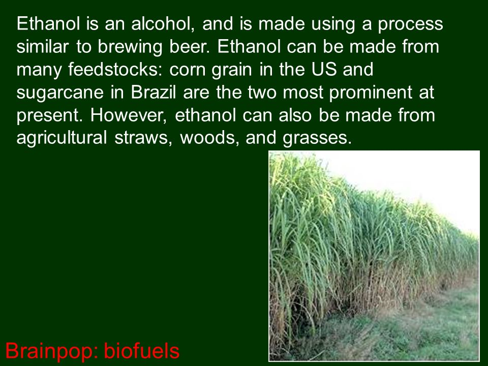 Ethanol is an alcohol, and is made using a process similar to brewing beer.