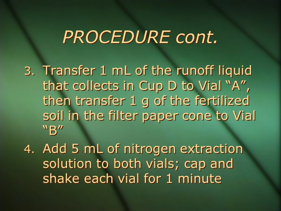 PROCEDURE cont. 3. Transfer 1 mL of the runoff liquid that collects in Cup D to Vial A, then transfer 1 g of the fertilized soil in the filter paper c