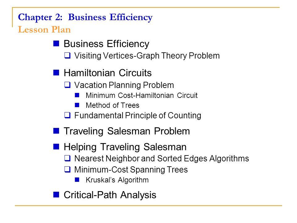 Chapter 2: Business Efficiency Lesson Plan Business Efficiency Visiting Vertices-Graph Theory Problem Hamiltonian Circuits Vacation Planning Problem M