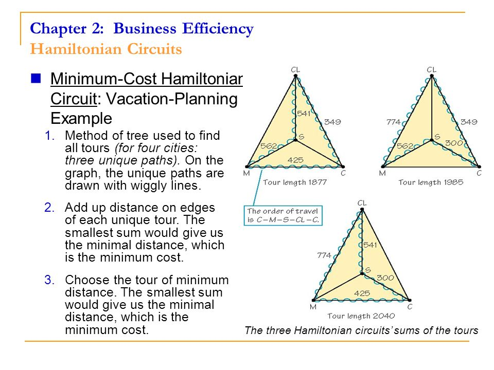 Chapter 2: Business Efficiency Hamiltonian Circuits The three Hamiltonian circuits sums of the tours Minimum-Cost Hamiltonian Circuit: Vacation-Planni