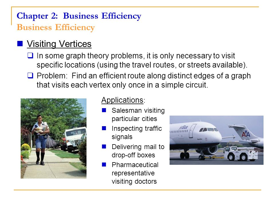 Chapter 2: Business Efficiency Business Efficiency Visiting Vertices In some graph theory problems, it is only necessary to visit specific locations (