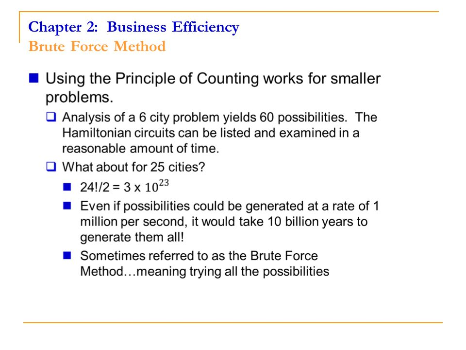 Chapter 2: Business Efficiency Brute Force Method