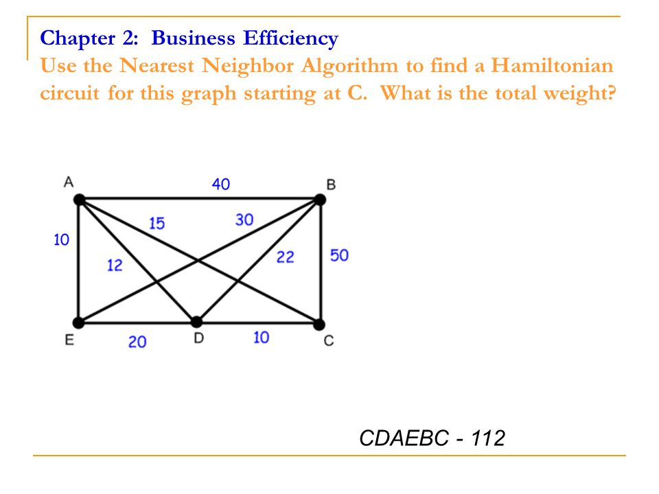 Chapter 2: Business Efficiency Use the Nearest Neighbor Algorithm to find a Hamiltonian circuit for this graph starting at C. What is the total weight