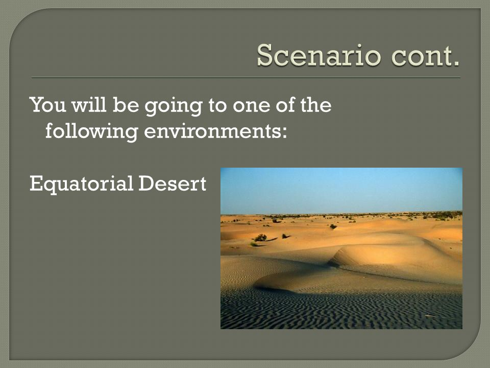 You will be going to one of the following environments: Equatorial Desert