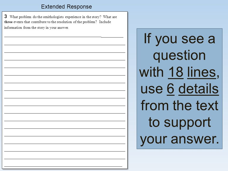 Extended Response If you see a question with 18 lines, use 6 details from the text to support your answer.
