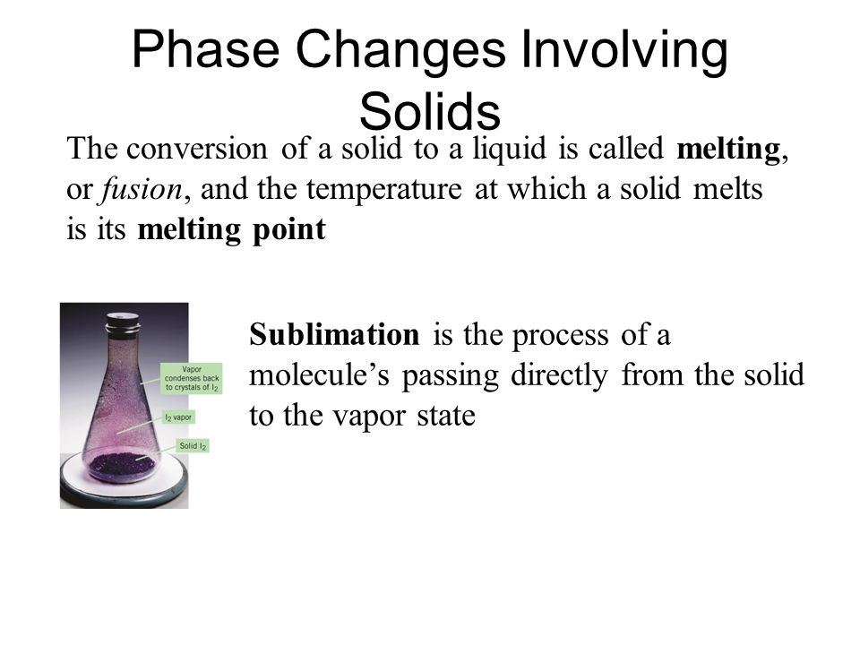 Phase Changes Involving Solids The conversion of a solid to a liquid is called melting, or fusion, and the temperature at which a solid melts is its m