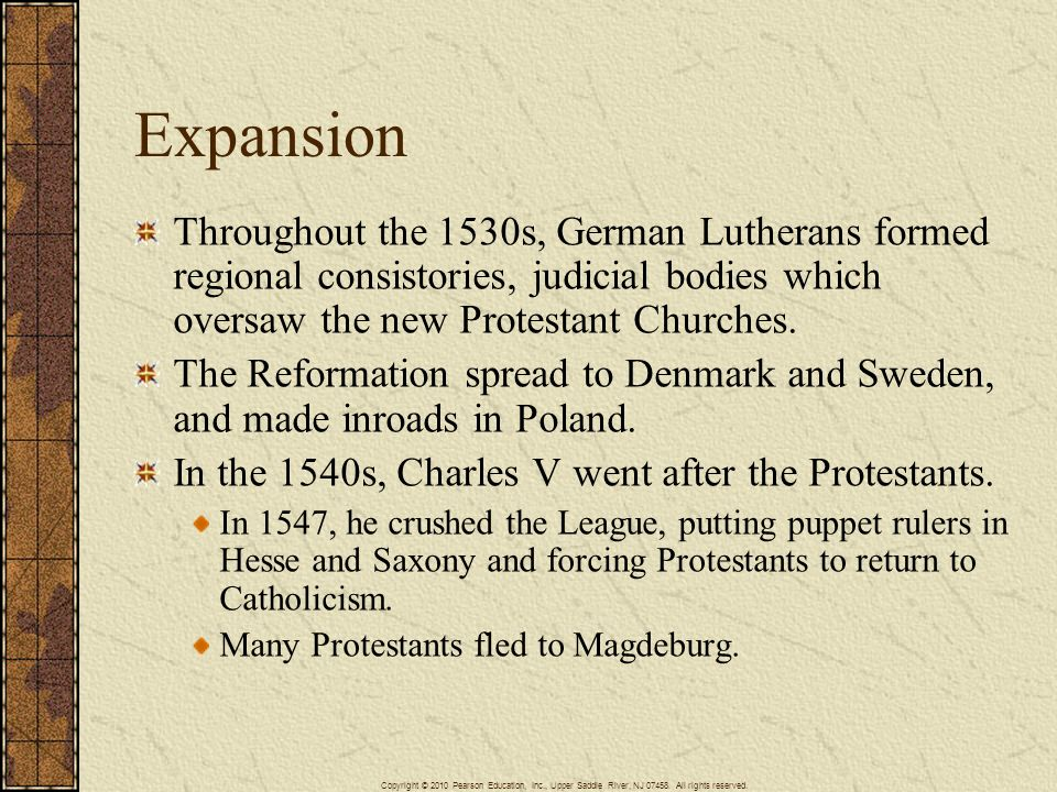 Expansion Throughout the 1530s, German Lutherans formed regional consistories, judicial bodies which oversaw the new Protestant Churches. The Reformat