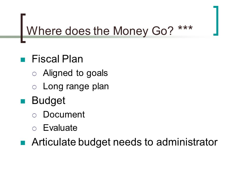 Where does the Money Go? *** Fiscal Plan Aligned to goals Long range plan Budget Document Evaluate Articulate budget needs to administrator