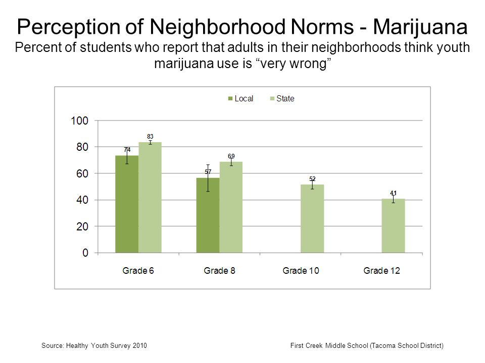 Perception of Neighborhood Norms - Marijuana Percent of students who report that adults in their neighborhoods think youth marijuana use is very wrong Source: Healthy Youth Survey 2010First Creek Middle School (Tacoma School District)