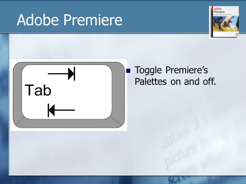 Toggle Premieres Palettes on and off. Adobe Premiere