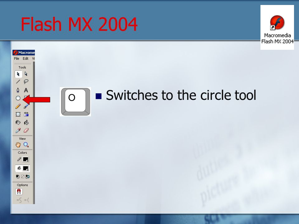 Switches to the circle tool Flash MX 2004