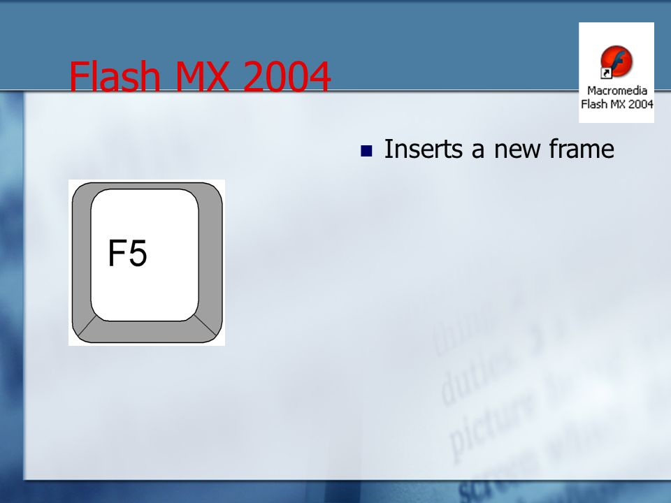 Inserts a new frame Flash MX 2004