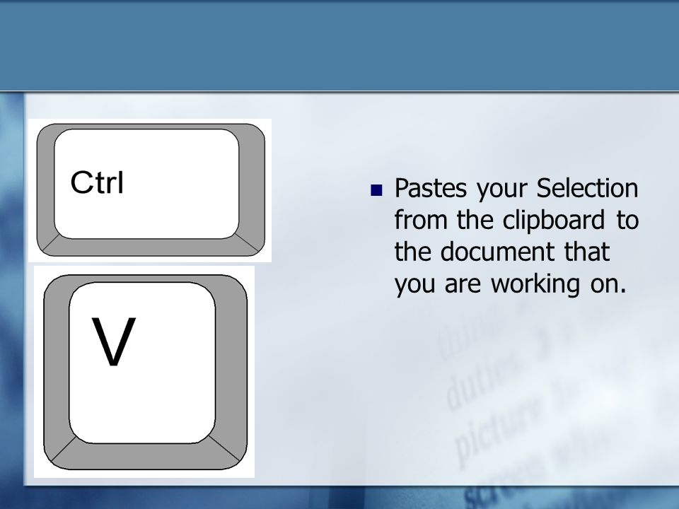 Pastes your Selection from the clipboard to the document that you are working on.