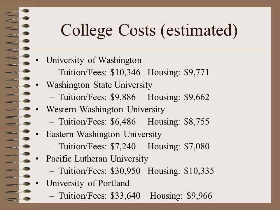College Costs (estimated) University of Washington –Tuition/Fees: $10,346Housing: $9,771 Washington State University –Tuition/Fees: $9,886Housing: $9,