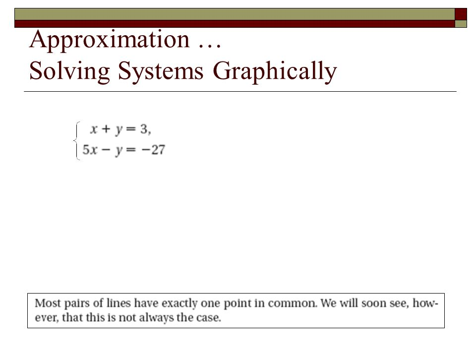Practice – Solving by Graphing Consistent: (1,2) y – x = 1 (0,1) and (-1,0) y + x = 3 (0,3) and (3,0) Solution is probably (1,2) … Check it: 2 – 1 = 1 true 2 + 1 = 3 true therefore, (1,2) is the solution (1,2)