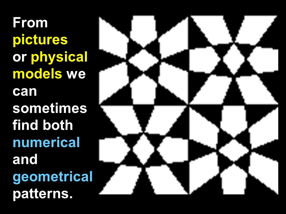 From pictures or physical models we can sometimes find both numerical and geometrical patterns.