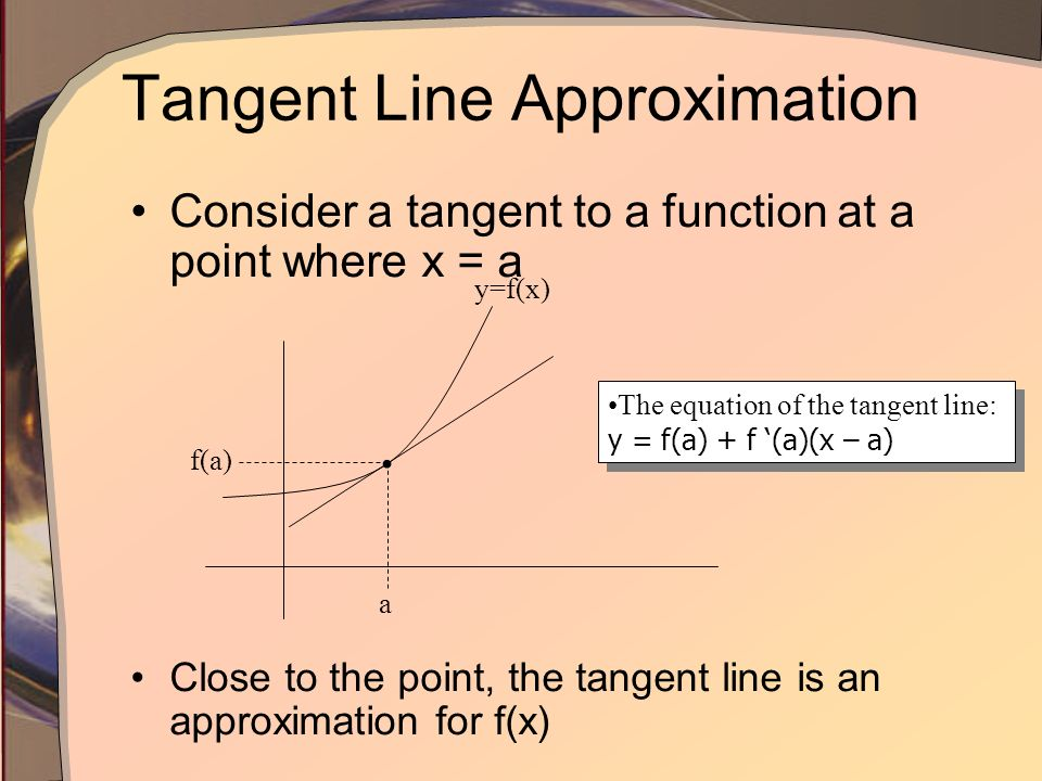 Linear Approximation and Differentials Lesson 3.9
