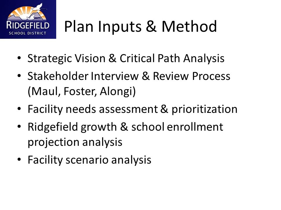 Plan Inputs & Method Strategic Vision & Critical Path Analysis Stakeholder Interview & Review Process (Maul, Foster, Alongi) Facility needs assessment