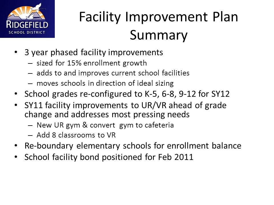 Facility Improvement Plan Summary 3 year phased facility improvements – sized for 15% enrollment growth – adds to and improves current school faciliti
