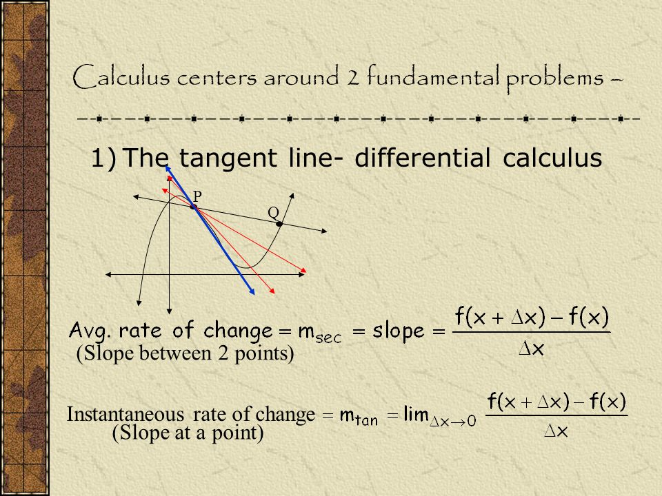 Calculus centers around 2 fundamental problems – 1)The tangent line- differential calculus P Q Instantaneous rate of change (Slope at a point) (Slope