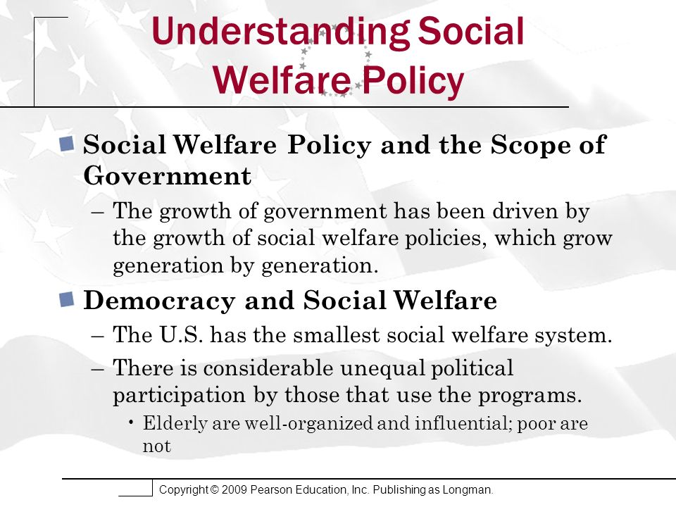 Copyright © 2009 Pearson Education, Inc. Publishing as Longman. Understanding Social Welfare Policy Social Welfare Policy and the Scope of Government