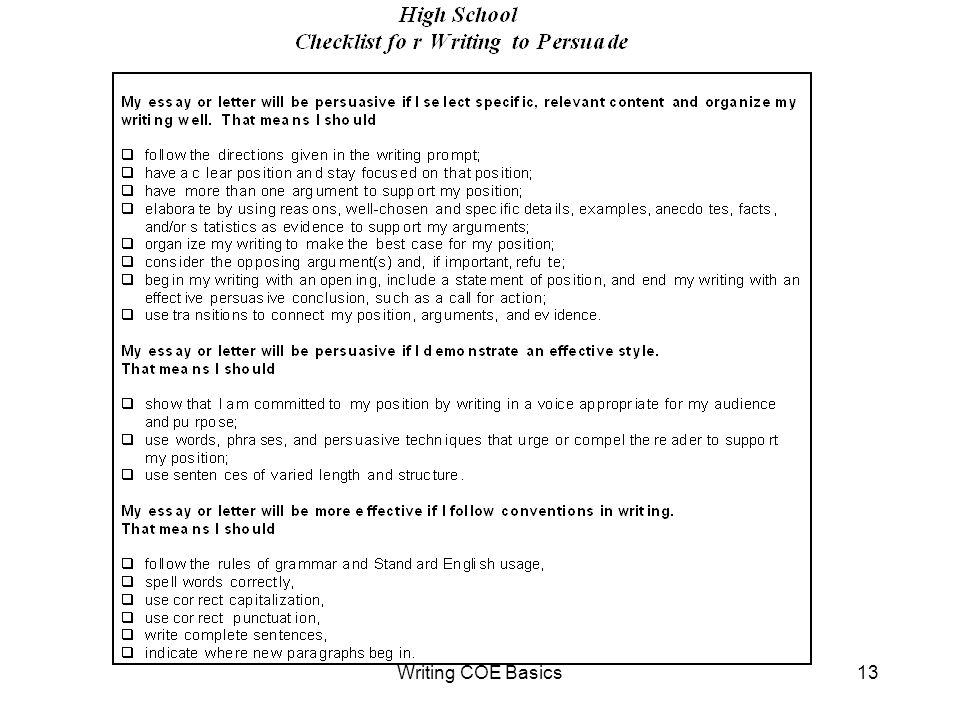 Writing COE Basics13
