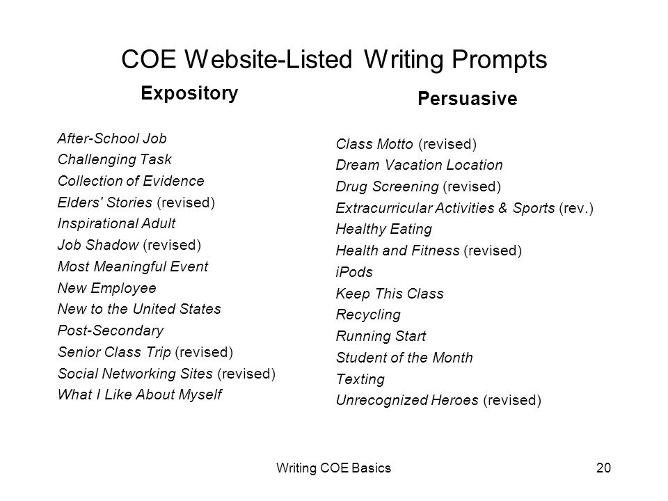 Writing COE Basics20 COE Website-Listed Writing Prompts Expository After-School Job Challenging Task Collection of Evidence Elders Stories (revised) Inspirational Adult Job Shadow (revised) Most Meaningful Event New Employee New to the United States Post-Secondary Senior Class Trip (revised) Social Networking Sites (revised) What I Like About Myself Persuasive Class Motto (revised) Dream Vacation Location Drug Screening (revised) Extracurricular Activities & Sports (rev.) Healthy Eating Health and Fitness (revised) iPods Keep This Class Recycling Running Start Student of the Month Texting Unrecognized Heroes (revised)