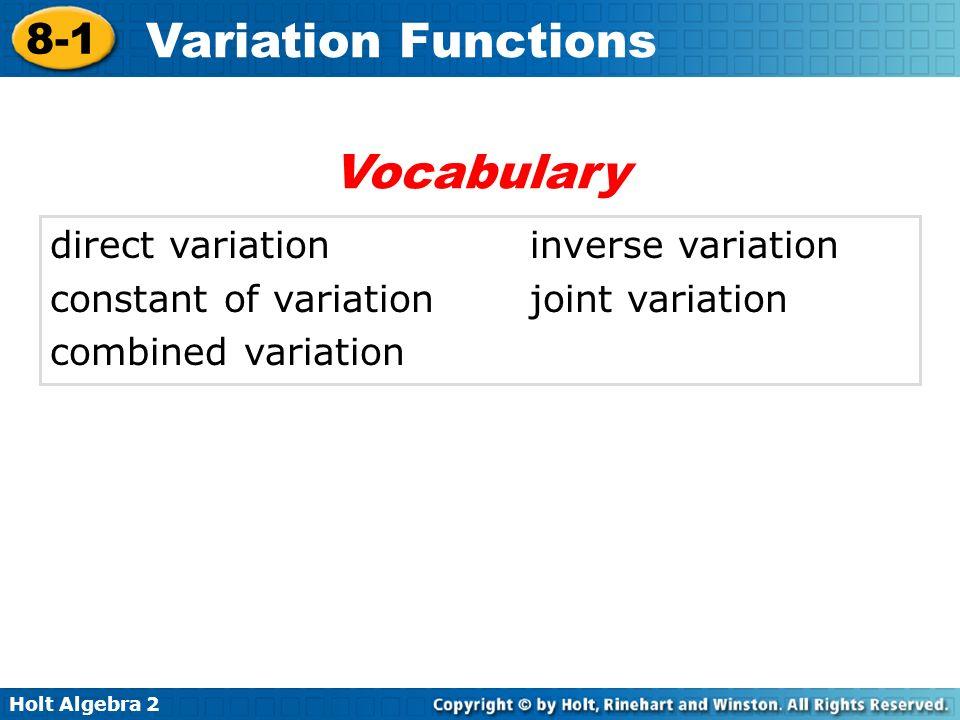 Holt Algebra 2 8-1 Variation Functions direct variationinverse variation constant of variationjoint variation combined variation Vocabulary