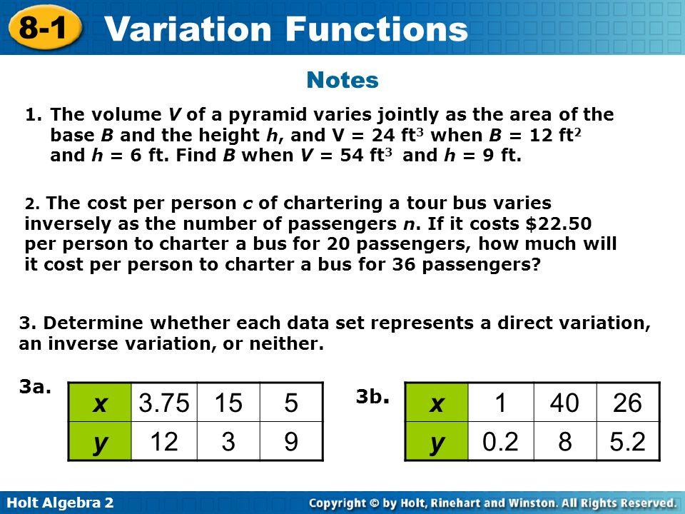 Holt Algebra 2 8-1 Variation Functions 3.