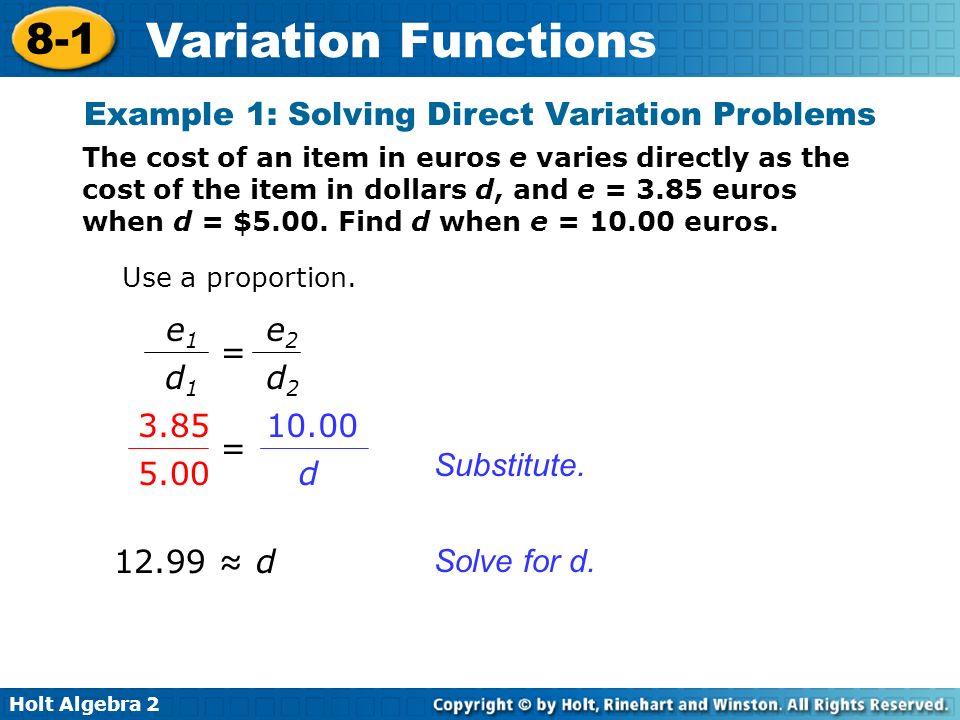Holt Algebra 2 8-1 Variation Functions Substitute.