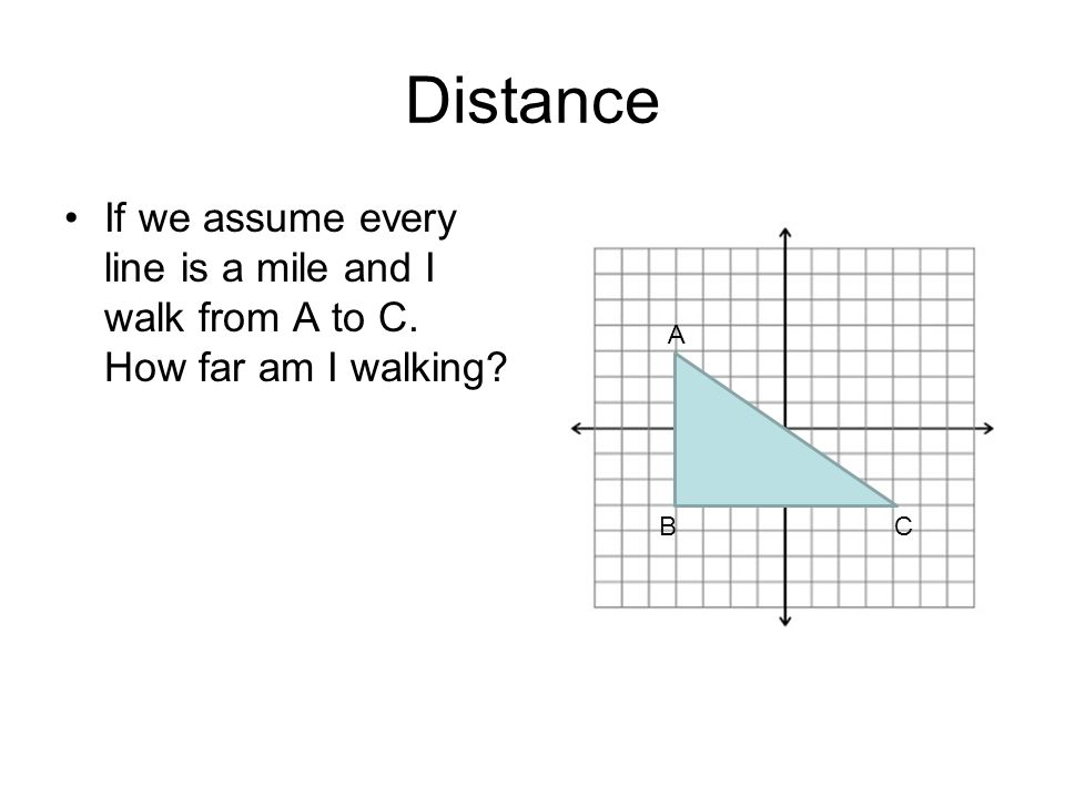 Distance If we assume every line is a mile and I walk from A to C. How far am I walking A BC