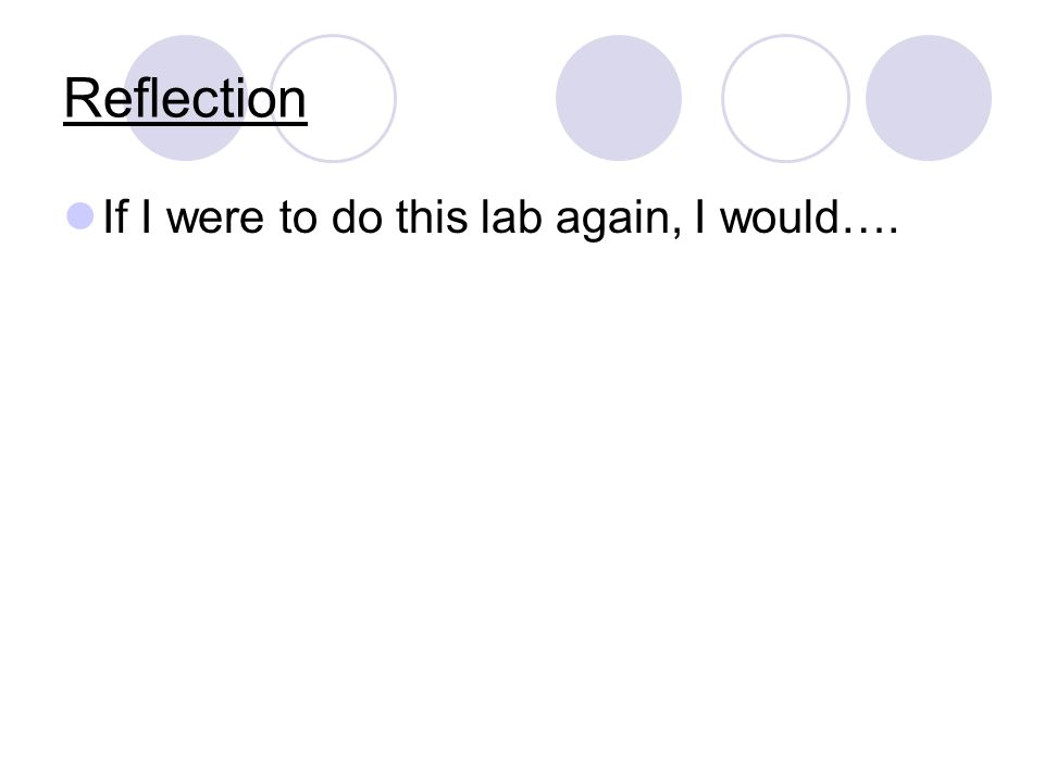Reflection If I were to do this lab again, I would….