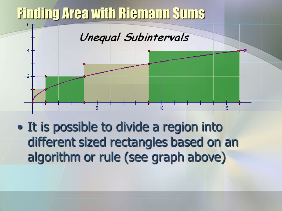Finding Area with Riemann Sums It is possible to divide a region into different sized rectangles based on an algorithm or rule (see graph above)It is