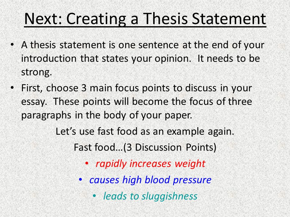 Help Creating A Thesis Statement