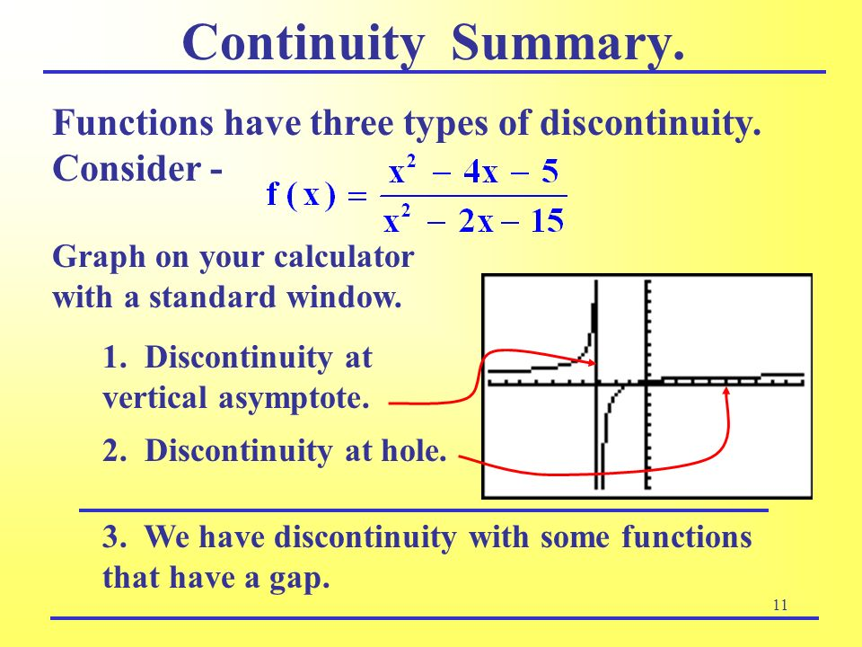 11 Continuity Summary. 3. We have discontinuity with some functions that have a gap. Graph on your calculator with a standard window. Functions have t
