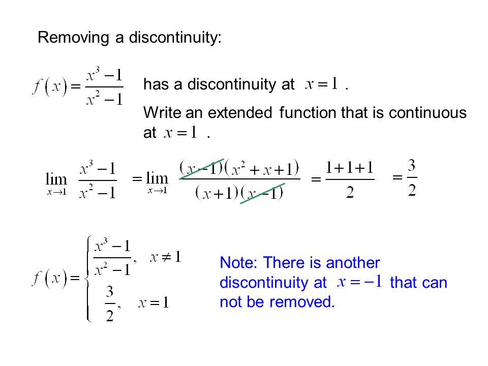 Removing a discontinuity: Note: There is another discontinuity at that can not be removed.