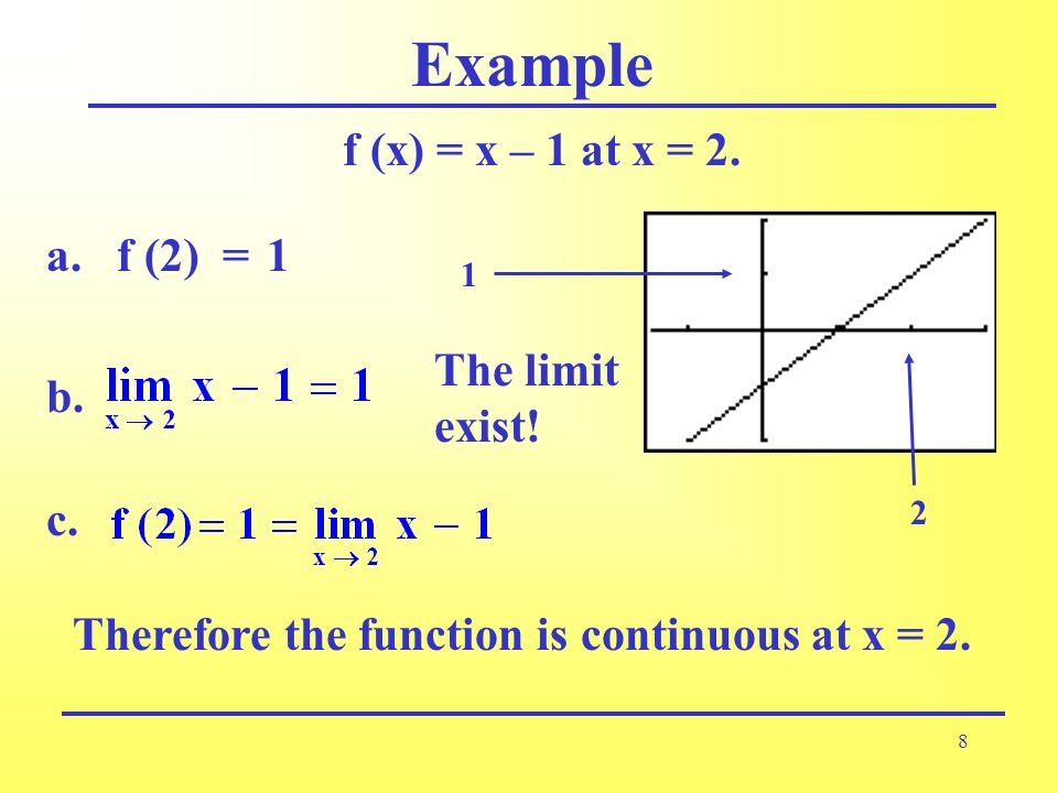 8 Example f (x) = x – 1 at x = 2. c. b. The limit exist! f (2) =a.1 Therefore the function is continuous at x = 2. 2 1