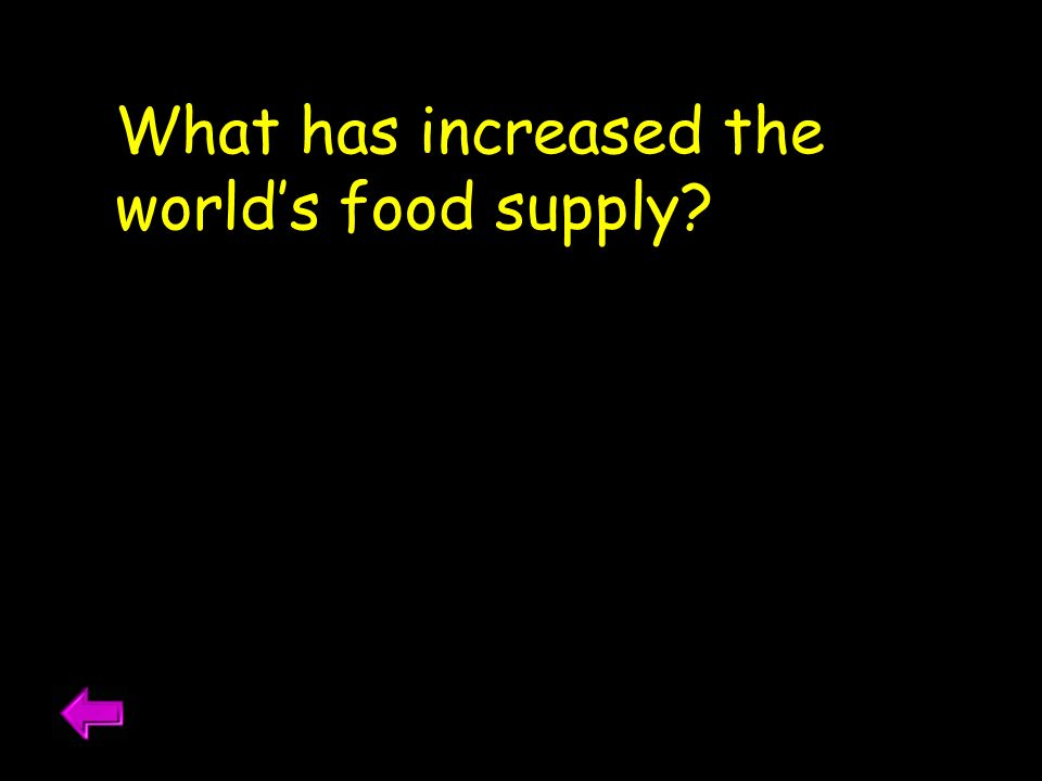 What has increased the worlds food supply