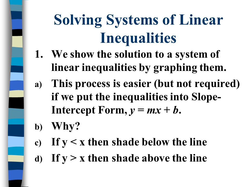 Solving Systems of Linear Inequalities 2.Graph the line using the y-intercept & slope.