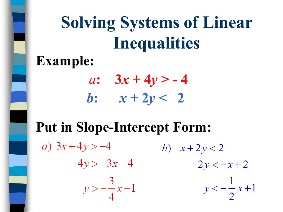 Solving Systems of Linear Inequalities Example: a: 3x + 4y > - 4 b: x + 2y < 2 Put in Slope-Intercept Form: