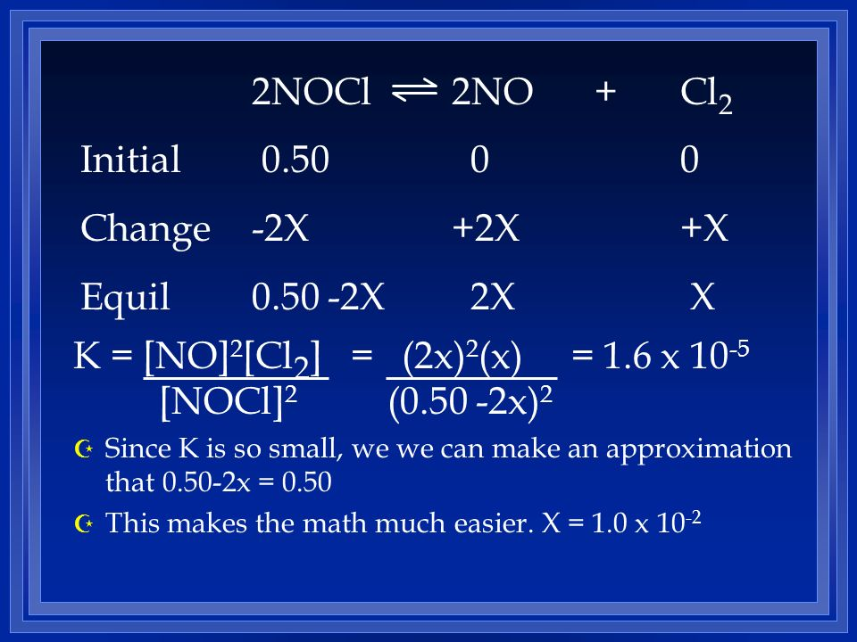 K = [NO] 2 [Cl 2 ] = (2x) 2 (x) = 1.6 x 10 -5 [NOCl] 2 (0.50 -2x) 2 Z Since K is so small, we we can make an approximation that 0.50-2x = 0.50 Z This