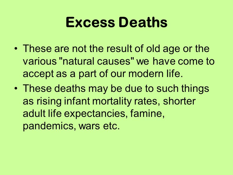 Excess Deaths These are not the result of old age or the various natural causes we have come to accept as a part of our modern life.