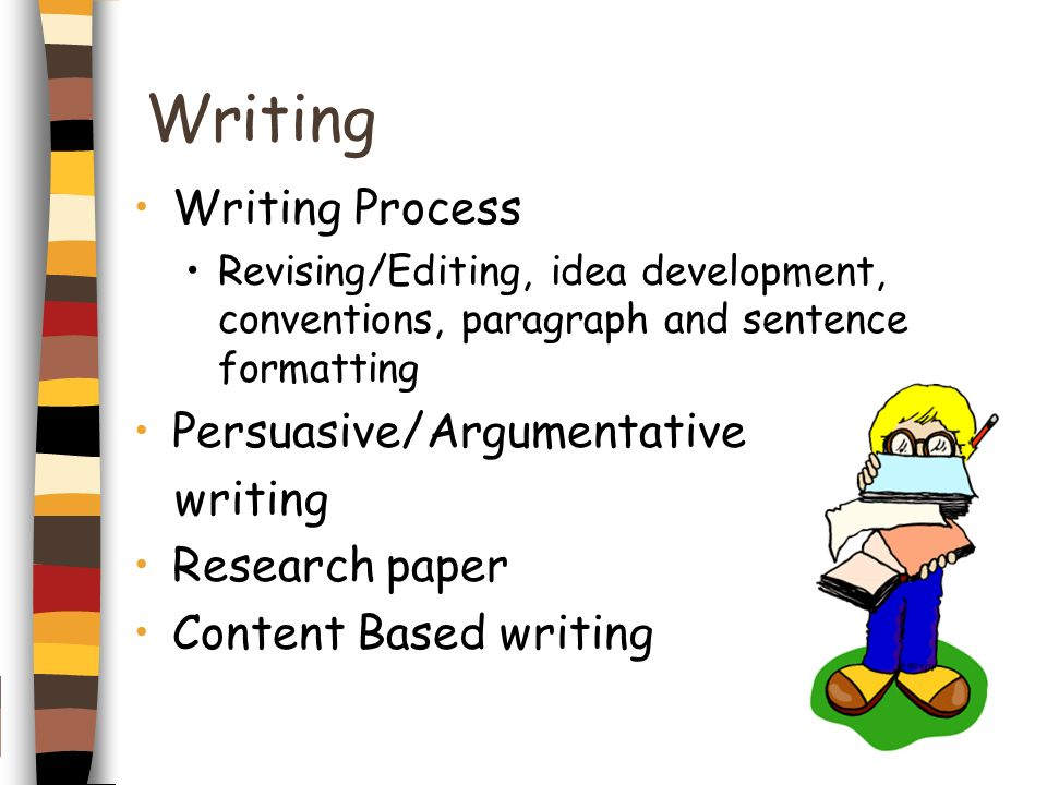 Writing Writing Process Revising/Editing, idea development, conventions, paragraph and sentence formatting Persuasive/Argumentative writing Research p