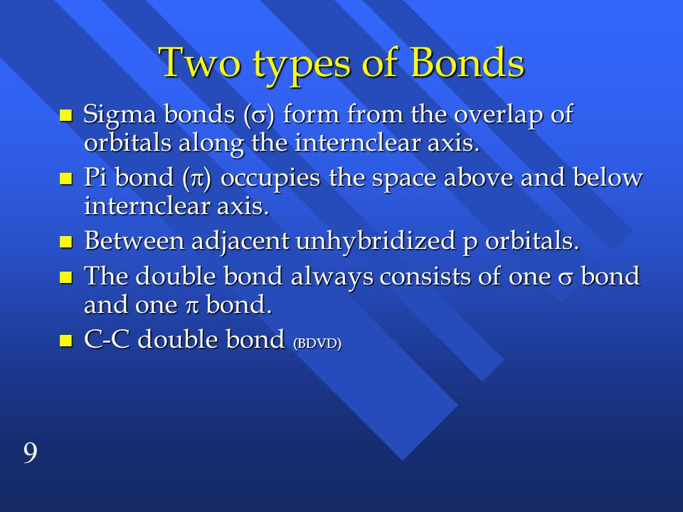 9 Two types of Bonds Sigma bonds ( ) form from the overlap of orbitals along the internclear axis. Sigma bonds ( ) form from the overlap of orbitals a