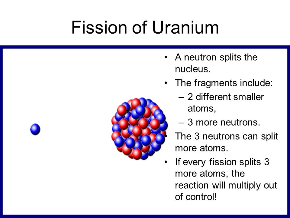 Fission of Uranium A neutron splits the nucleus. The fragments include: –2 different smaller atoms, –3 more neutrons. The 3 neutrons can split more at