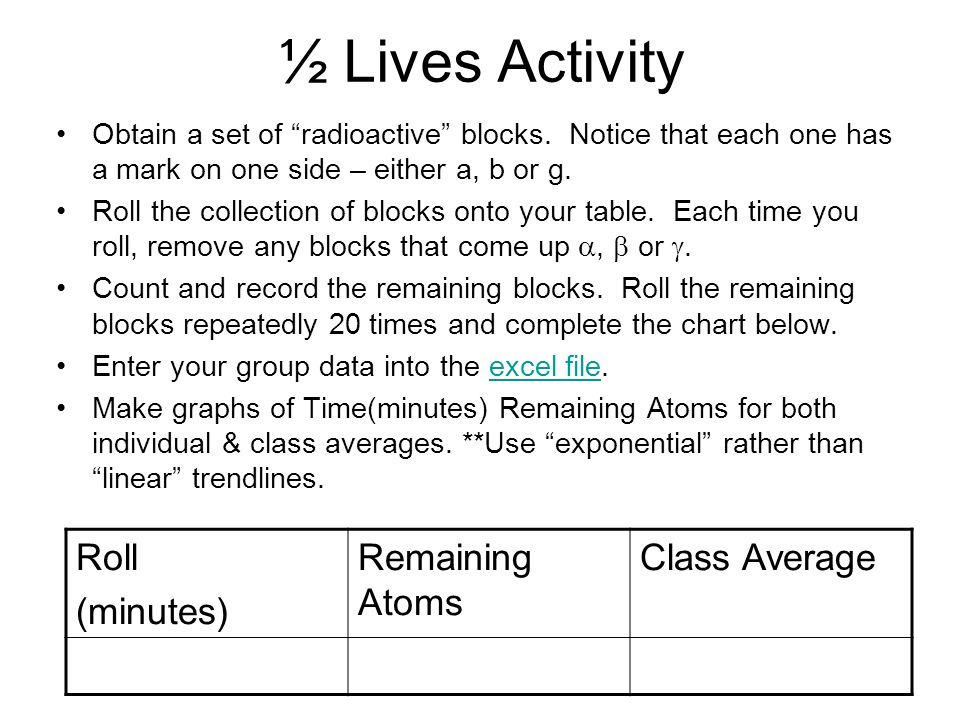 ½ Lives Activity Obtain a set of radioactive blocks. Notice that each one has a mark on one side – either a, b or g. Roll the collection of blocks ont