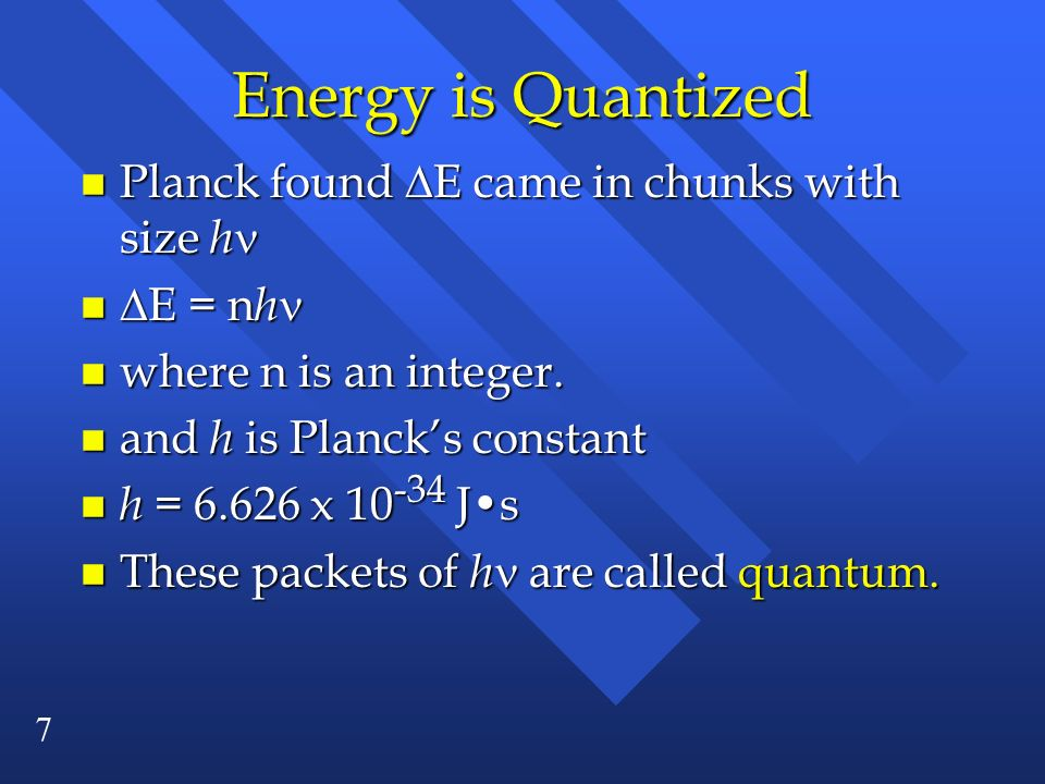 8 Einstein is next n Said electromagnetic radiation is quantized in particles called photons.